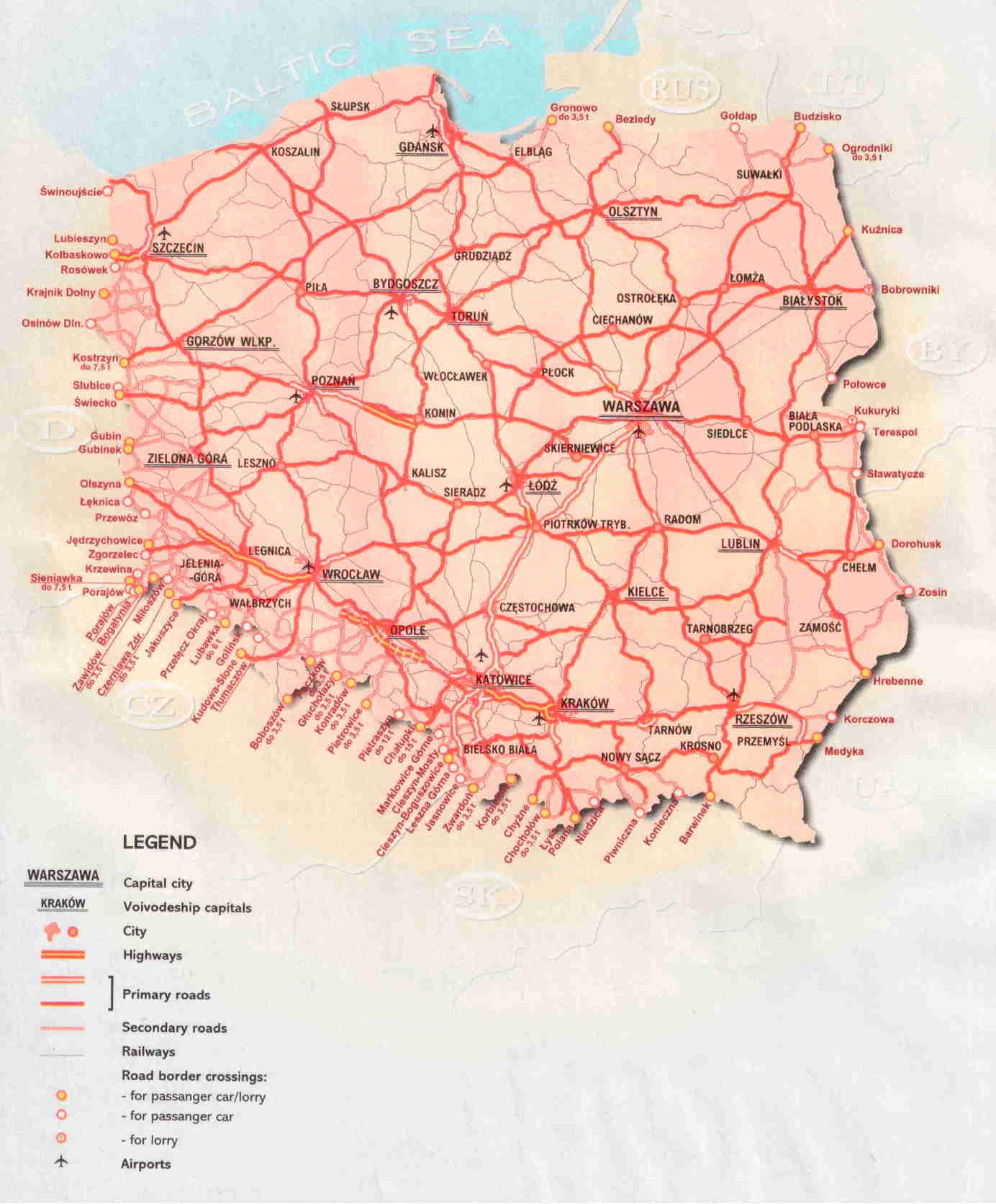 Карта автодорог Польши: http://polandru.narod.ru/transport/map_way.html